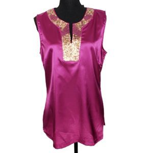 Apt. 9 Silky Purple Tunic w/ Sequin NWT